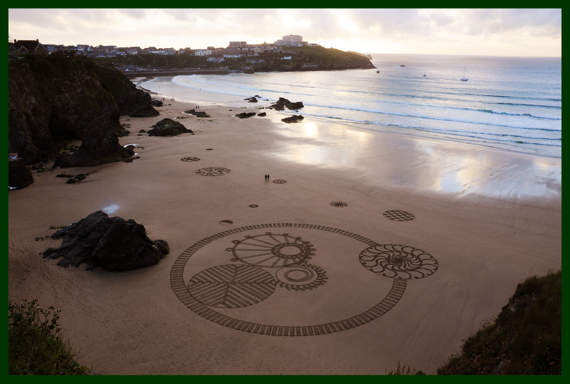 Raked Art on Newquay Beach
